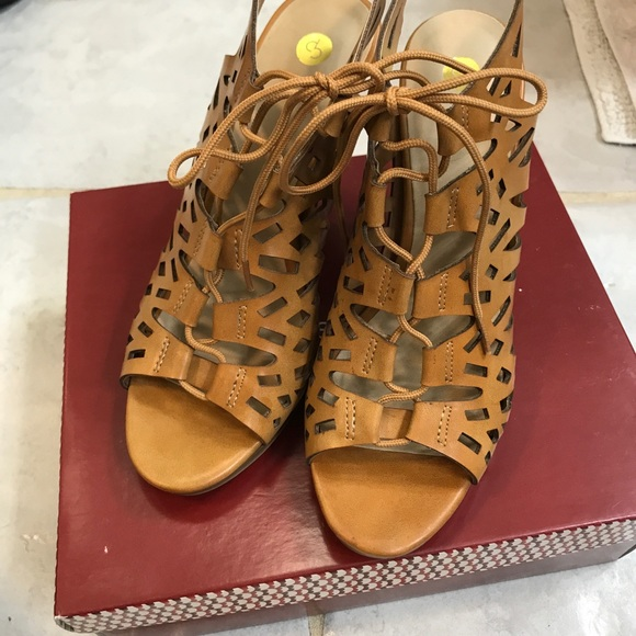 Dress Barn Shoes - Brown Leather Peep Toe Heels
